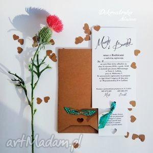 eko zaproszenia ślubne vintage groszki, vintage, zaproszenie, eko, eco