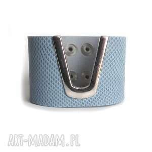 ręcznie robione bransoleta skórzana błękitna wężowa
