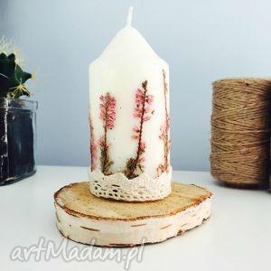 świeczka z wrzosem leśnym, świeca, świeczka, wrzos, suszone, kwiaty, vintage