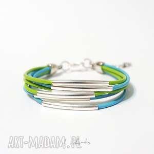 bransoletka - niebieska, zielona rzemienie, skórzana, metalowe rurki