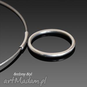 naszyjniki po prostu koło, srebro, linka, obroża, minimalistyczny biżuteria