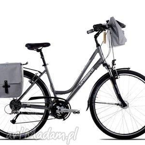 ręcznie zrobione podróżne sakwa rowerowa toskania jasno szara