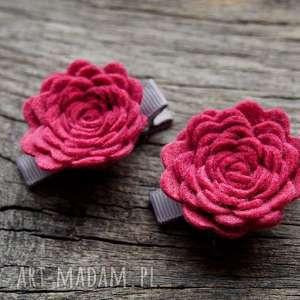 ROSES Spinki do włosów RASPBERRY, różyczki, spinki, filc, kwiatki, spineczki