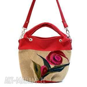 Beżowo czerwona wersja S, torebka, filcowana, kobieca, oryginalna, unikatowa