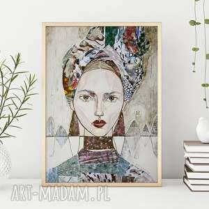 Plakat 30x40 cm - kobieta w turbanie plakaty creo plakat, wydruk