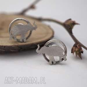 Srebrne kolczyki słonie jachyra jewellery afryka, słonie