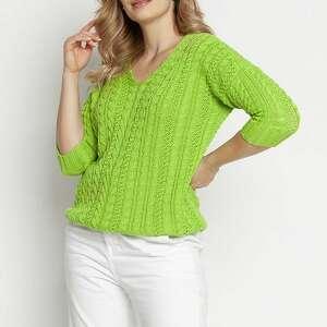 sweter ozdobiony warkoczami, swe213 jasny zielony mkm, na lato, cienki