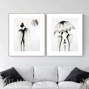 zestaw 2 grafik 40x50 cm wykonanych ręcznie, grafika czarno-biała, abstrakcja