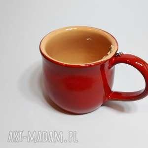 Kubek świąteczny czerwony, kubek, ceramika, glina, rękodzieło
