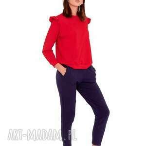 sportowe dres damski ella kolor czerwono/granatowy, spodnie, bluza, t shirt