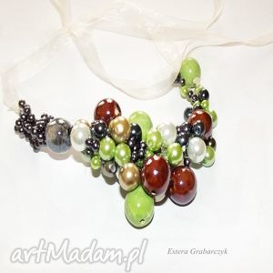naszyjnik kolorowa porcelana - naszyjnik, kolorowy, porcelana, perła, ślub, moda