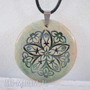 flower naszyjnik - ceramiczny, kwiatuszek, wisiorek, naszyjnik