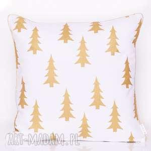 poduszki poduszka gold trees 50x50cm, z wypustką, złota poduszka, choinka