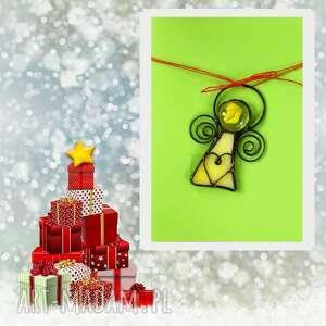 kartki kartka na życzenia z żółtym aniołkiem, święta
