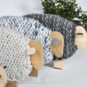 Merino - australijska owieczka duża, drewno, wełna, wielkanoc, dekoracja,