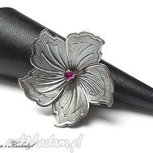 flower, srebro, kwiat, romantyczny, cyrkonia
