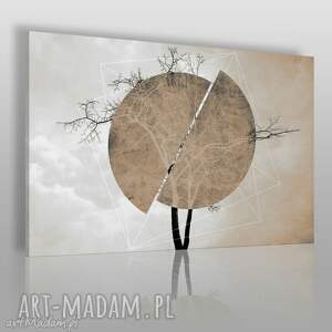 obraz na płótnie - drzewo koło brąz beż 120x80 cm 41102 , drzewo, okrąg