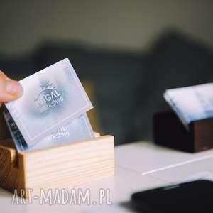 Wizytownik drewniany / Stojak na wizytówki, wizytownik, drewno, sosna, biuro,