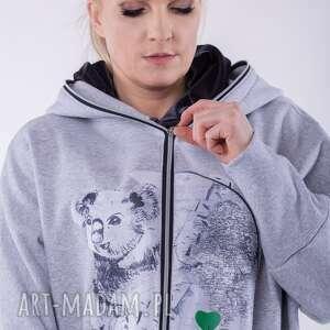 handmade bluzy bluza nietoperz szara nadruk koala