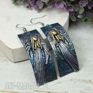 długie, wiszące kolczyki anioły, anioły, biżuteria anioł, długie