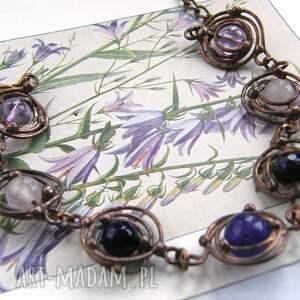 bransoletka miedziana z fioletem, miedziana, kamienie
