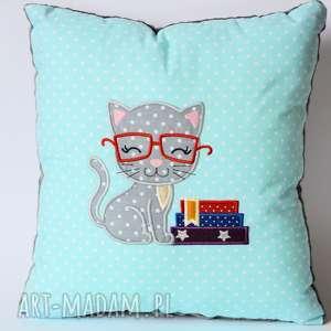 handmade pokoik dziecka poduszka - kotek kocha czytać