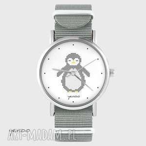 zegarek - pingwin dziergany szary, nato, zegarek, bransoletka