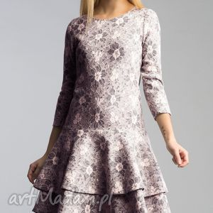Sukienka LADY Midi Shanon, falbana, koronka, granat, mieciutka, rozkloszowana, biodra