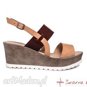 Skórzane sandały na platformie, platforma, sandaly, skóra