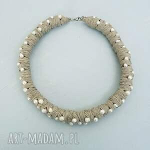 naszyjniki perły i len 001 duży naszyjnik, naszyjnik perłowy