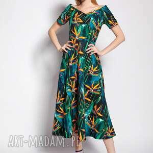 sukienka z odkrytymi ramionami, suk182 bambus, coldarms, carmen, na ślub