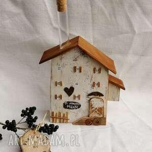 hand-made dekoracje rustykalny domek z mezurką na kwiat no