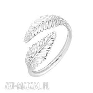 srebrny pierścionek z liśćmi laurowymi - liśćlaurowy