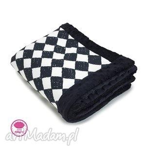 makaszka - kocyk minky niemowlaka czarna szachownica, kocyk