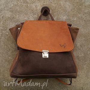 ach ludwiko plecak/torba ciepłe brązy, plecak, torba, beż, nubuk, zamsz, kobiecy