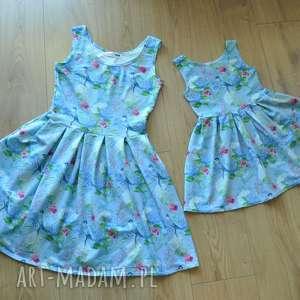 Komplet sukienek Zuza dla mamy i córki, dzianina, sukienki, kwiaty, dlamamyicórki