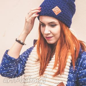 explorer navy blue - jesień, zima, czapka, handmade, włóczka