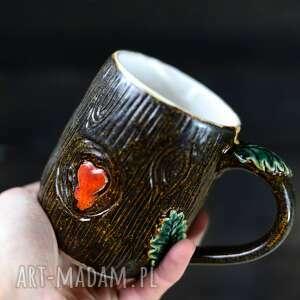 azulhorse handmade kubek ceramiczny do kawy herbaty leśne serce 450ml