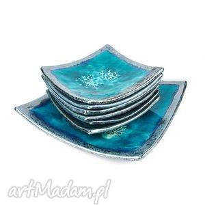Komplet deserowy turkusowy ceramika artlantyda talerze, deserowe