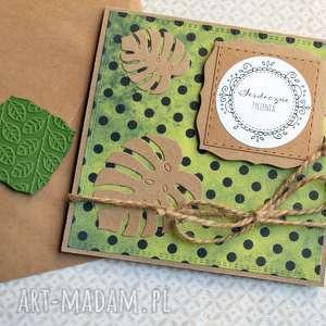 Serdeczne życzenia:: monstera i: kartka handmade kartki