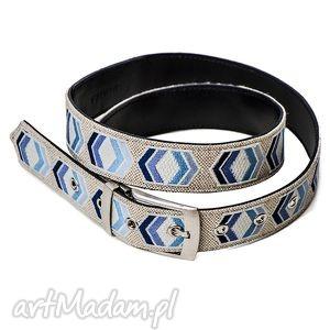 always visible-odcienie niebieskiego - pasek, len, skóra, haft, fluorescencyjny
