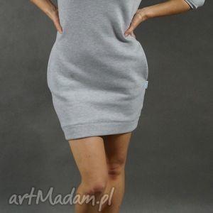 dresówka l xl, dresowa, tunika, sukienka, kieszenie, ciepła, szara, wyjątkowe