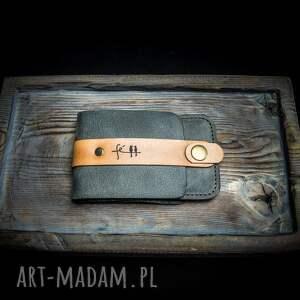 ręcznie robione portfele stylowy wykonany portfel w kolorze szarym, etui na karty