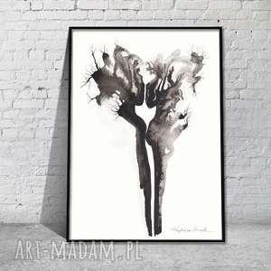grafika nowoczesna do sypialni akt czarno-biała body flowers, grafika-akt