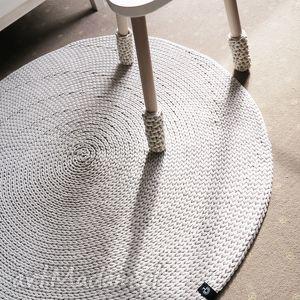 okrągły dywan z bawełnianego sznurka 100 cm, chodnik, rękodzieło, szydełkowy