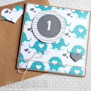 ręcznie robione kartki na roczek:: urodzinowa kartka:: słoniki