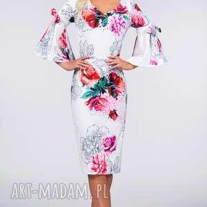 Sukienka INA Midi Delicja, midi, rękawki, klosz, dopasowana, kwiaty, ołówkowa