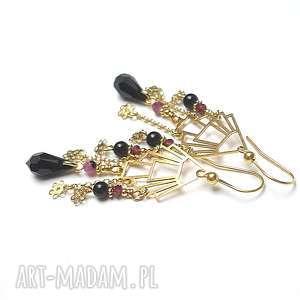 Wachlarze /gold/ - kolczyki, srebro-pozłacane, rubiny, granat, onyks, swarovski