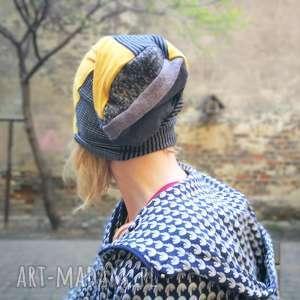 hand made czapki czapka damska dzianina patchwork