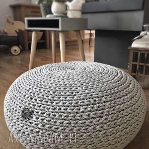 Poducha, siedzisko, płaski puf sitfuton grey knitting factory